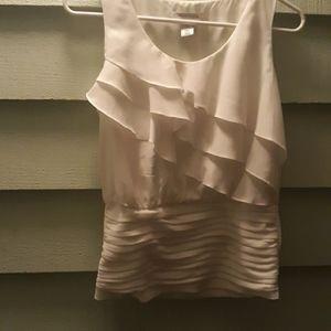 WHBM White Ruffled Sleeveless  Shirt